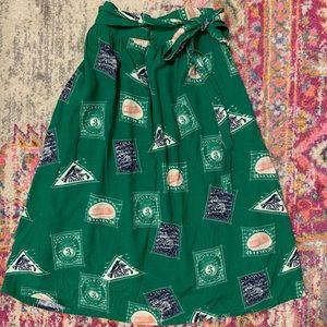 Patterned green midi skirt